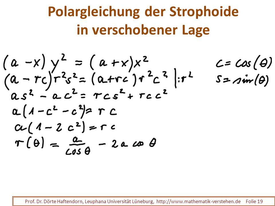 Polargleichung der Strophoide in verschobener Lage