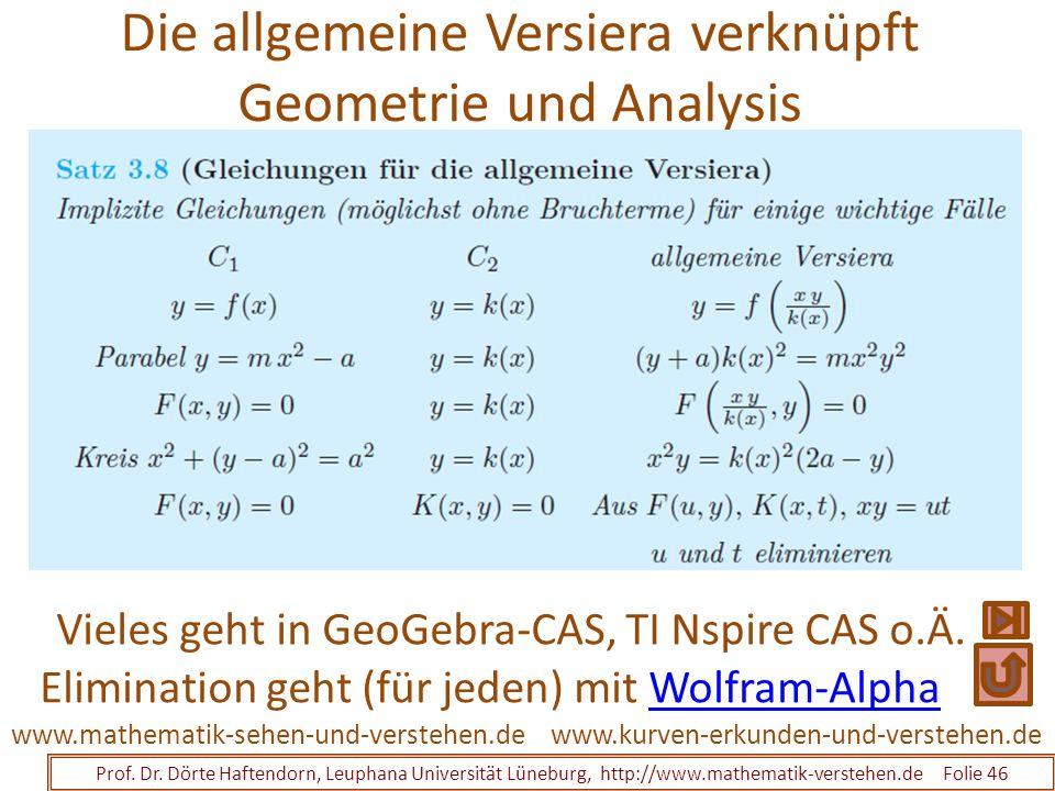 Die allgemeine Versiera verknüpft Geometrie und Analysis