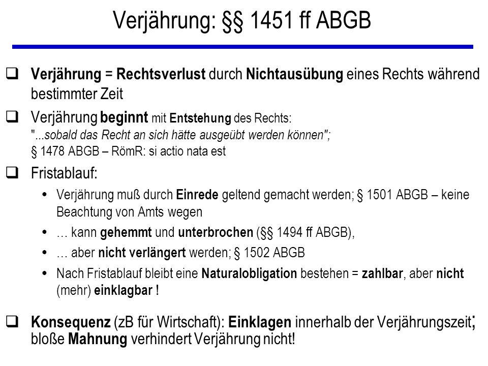 Verjährung: §§ 1451 ff ABGB Verjährung = Rechtsverlust durch Nichtausübung eines Rechts während bestimmter Zeit.