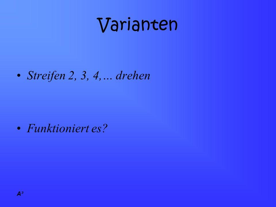 Varianten Streifen 2, 3, 4,… drehen Funktioniert es A³