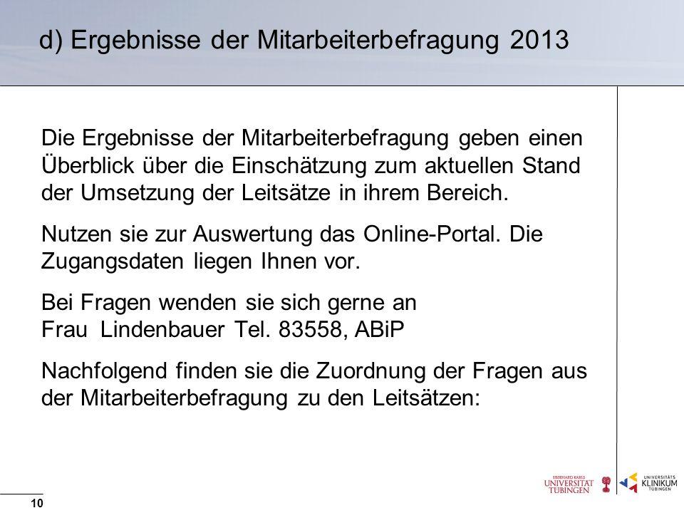 d) Ergebnisse der Mitarbeiterbefragung 2013