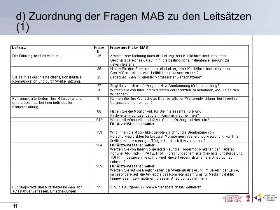 d) Zuordnung der Fragen MAB zu den Leitsätzen (1)