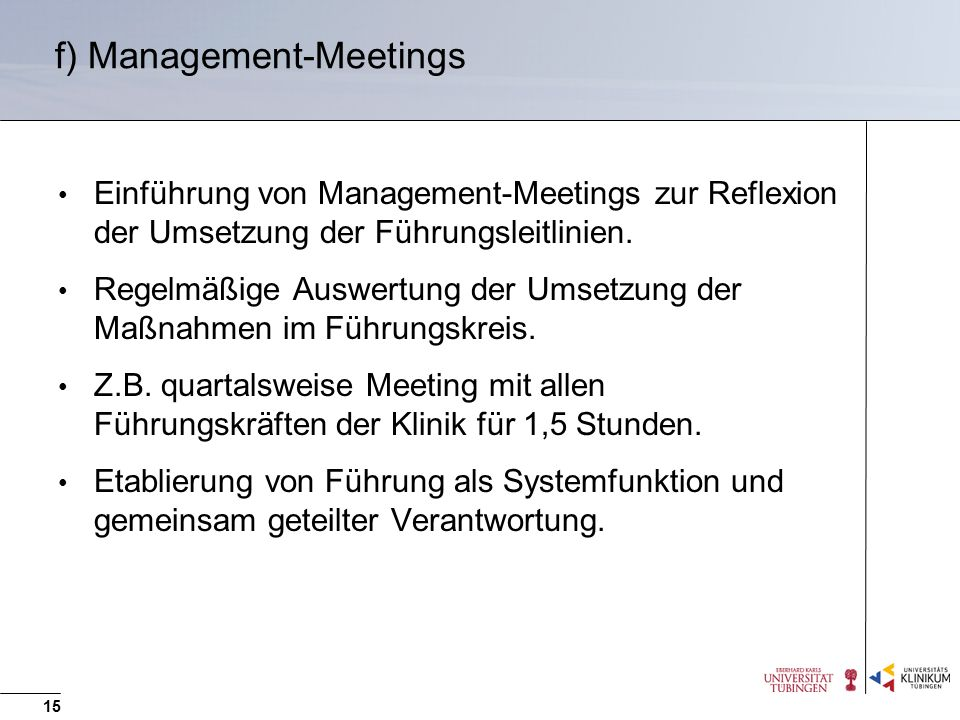 f) Management-Meetings