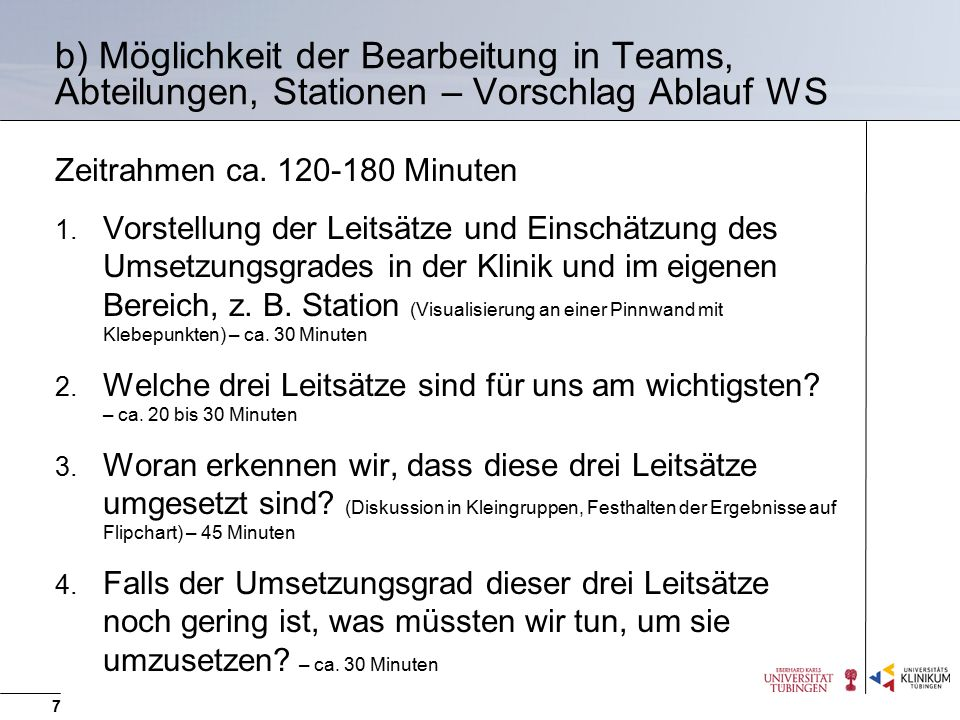 b) Möglichkeit der Bearbeitung in Teams, Abteilungen, Stationen – Vorschlag Ablauf WS