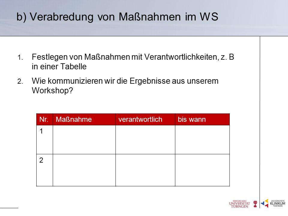 b) Verabredung von Maßnahmen im WS