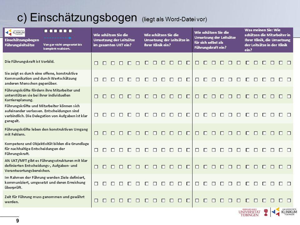 c) Einschätzungsbogen (liegt als Word-Datei vor)