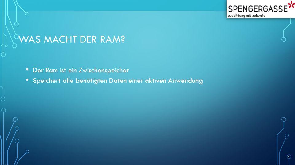 Was macht der RAM Der Ram ist ein Zwischenspeicher
