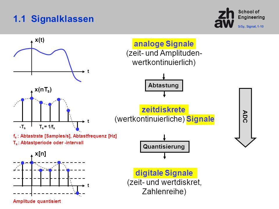1.1 Signalklassen analoge Signale (zeit- und Amplituden-