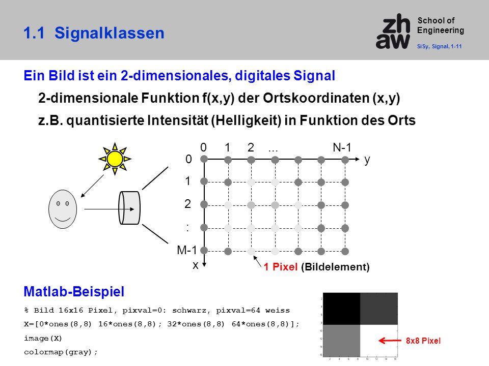 1.1 Signalklassen Ein Bild ist ein 2-dimensionales, digitales Signal