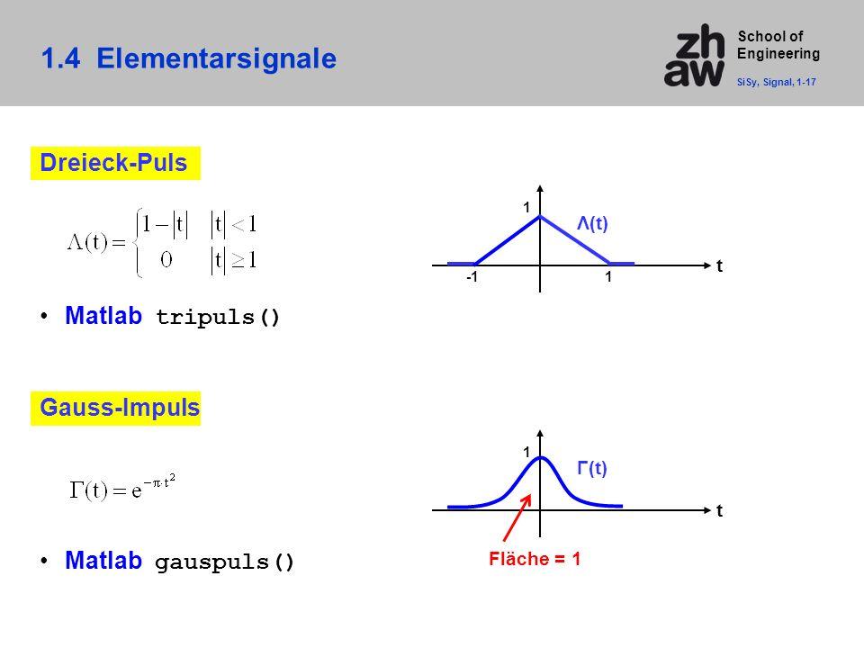 1.4 Elementarsignale Dreieck-Puls Matlab tripuls() Gauss-Impuls