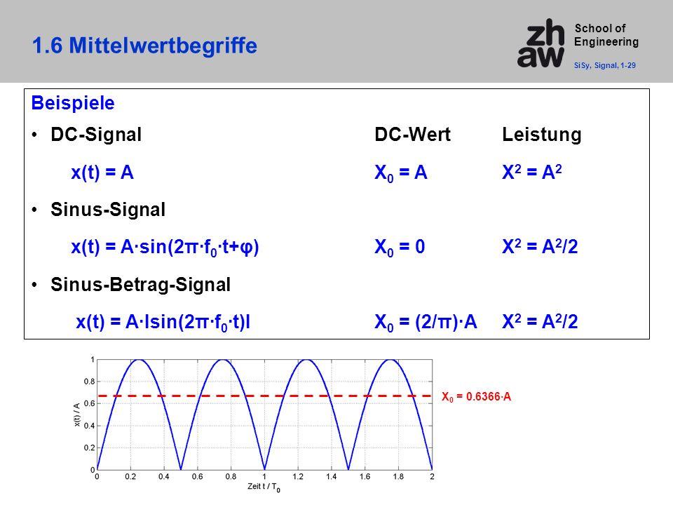 1.6 Mittelwertbegriffe Beispiele DC-Signal DC-Wert Leistung