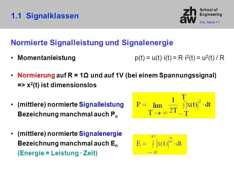 Normierte Signalleistung und Signalenergie