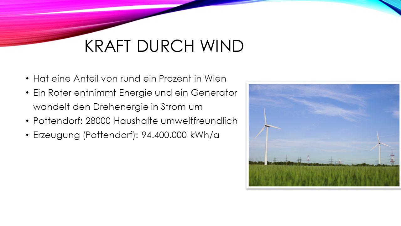 Kraft durch Wind Hat eine Anteil von rund ein Prozent in Wien