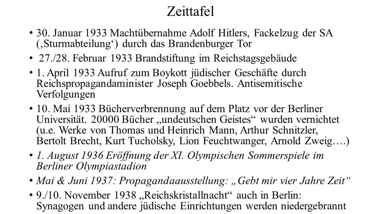 Zeittafel 30. Januar 1933 Machtübernahme Adolf Hitlers, Fackelzug der SA ('Sturmabteilung') durch das Brandenburger Tor.