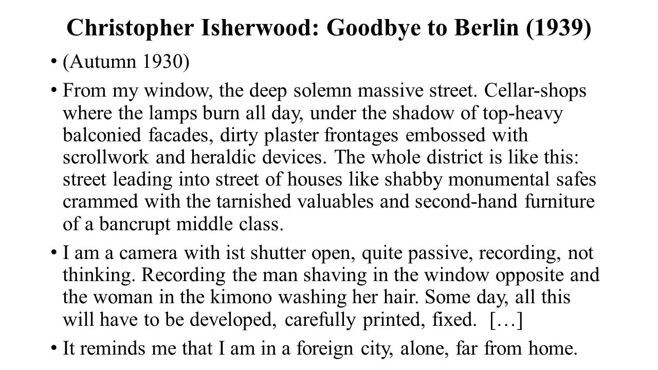 Christopher Isherwood: Goodbye to Berlin (1939)