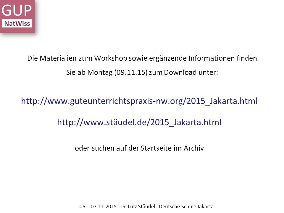Die Materialien zum Workshop sowie ergänzende Informationen finden Sie ab Montag (09.11.15) zum Download unter: