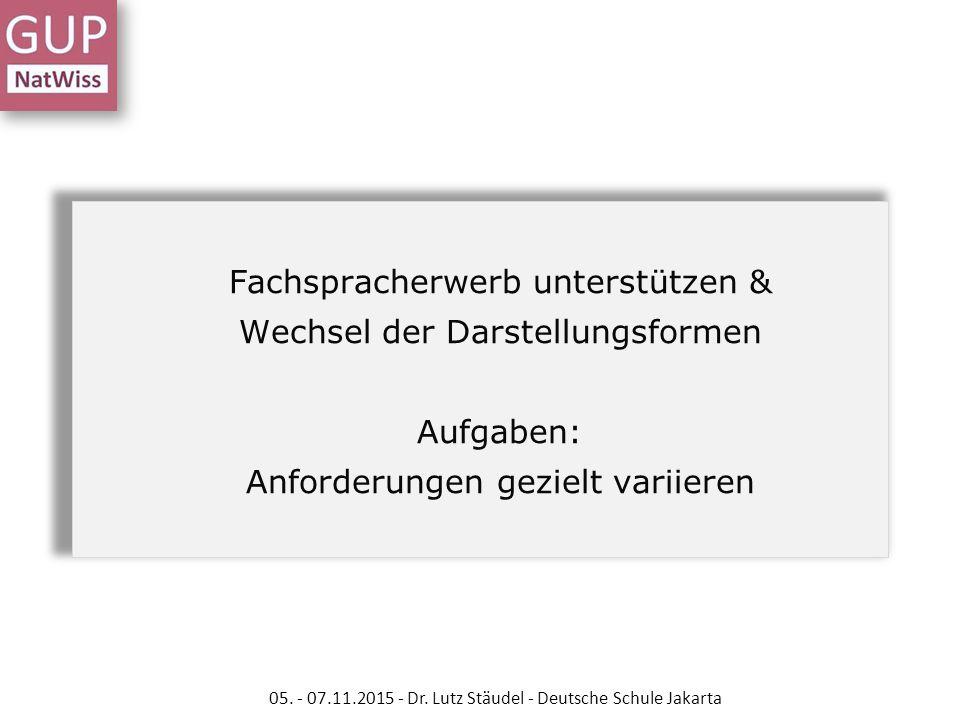 05. - 07.11.2015 - Dr. Lutz Stäudel - Deutsche Schule Jakarta