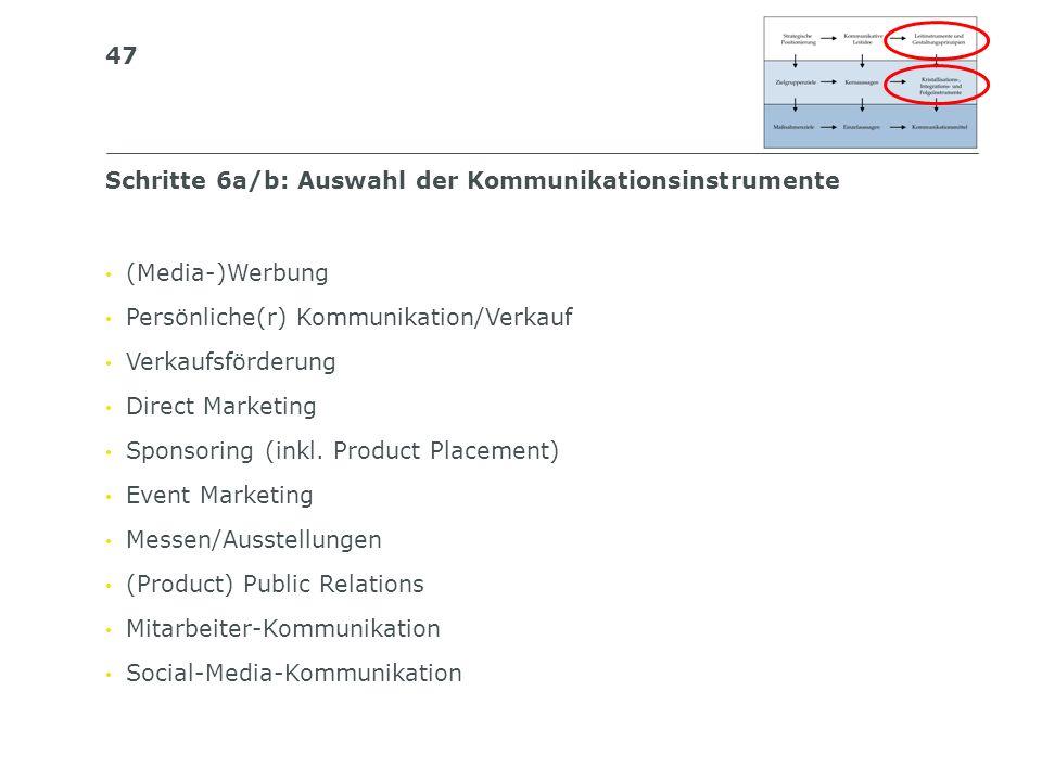 Schritte 6a/b: Auswahl der Kommunikationsinstrumente