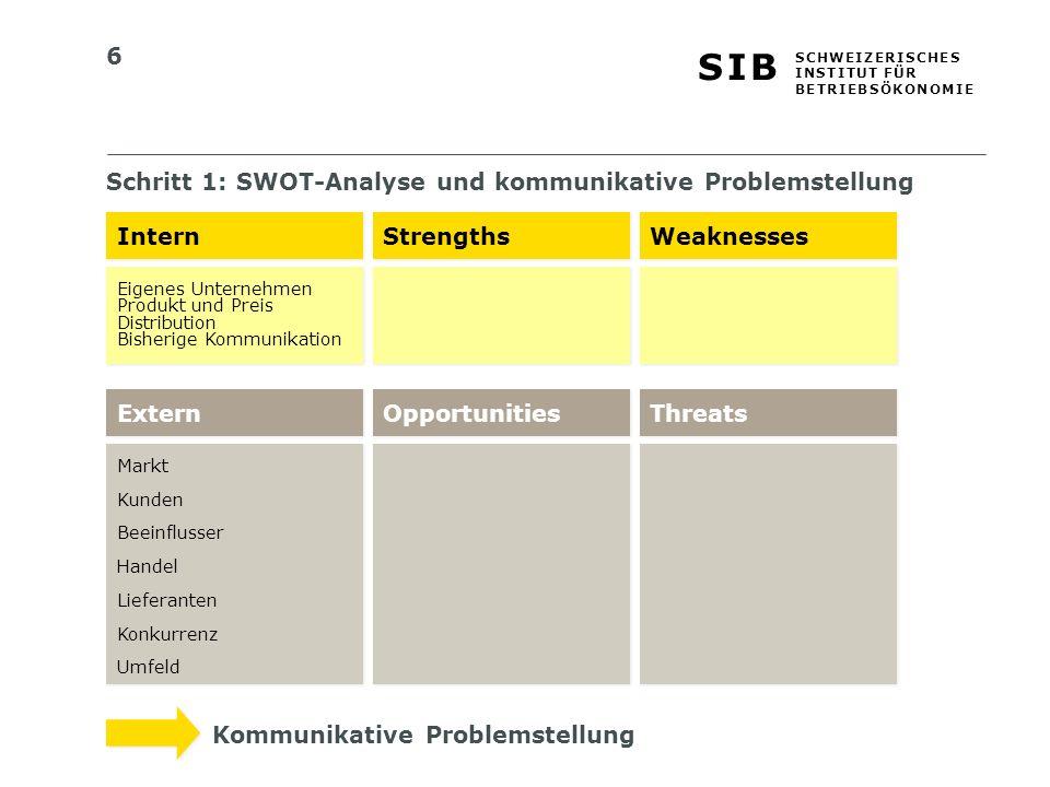 Schritt 1: SWOT-Analyse und kommunikative Problemstellung