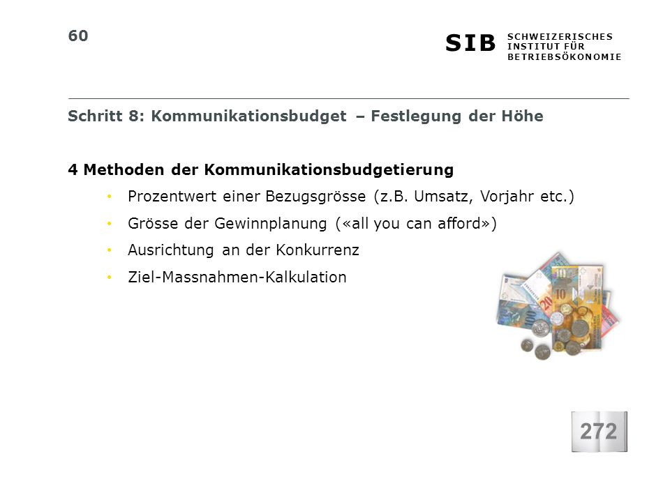 272 Schritt 8: Kommunikationsbudget – Festlegung der Höhe
