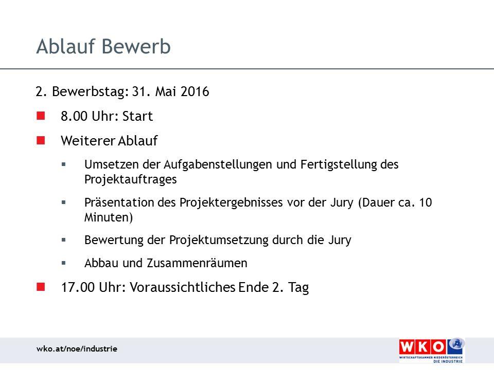 Ablauf Bewerb 2. Bewerbstag: 31. Mai 2016 8.00 Uhr: Start