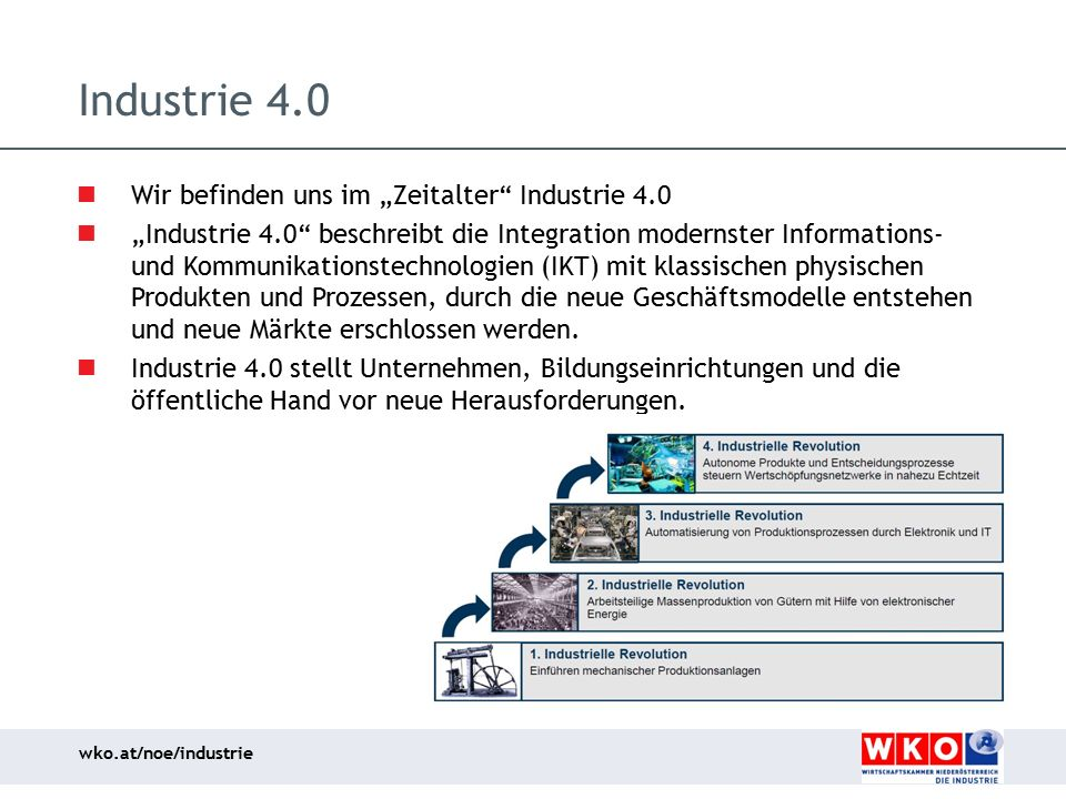 """Industrie 4.0 Wir befinden uns im """"Zeitalter Industrie 4.0"""