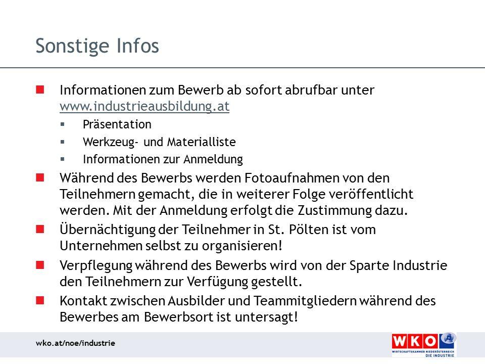 Sonstige Infos Informationen zum Bewerb ab sofort abrufbar unter www.industrieausbildung.at. Präsentation.