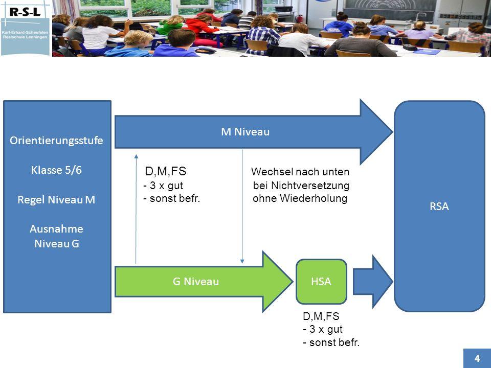 D,M,FS Wechsel nach unten Orientierungsstufe Klasse 5/6 Regel Niveau M