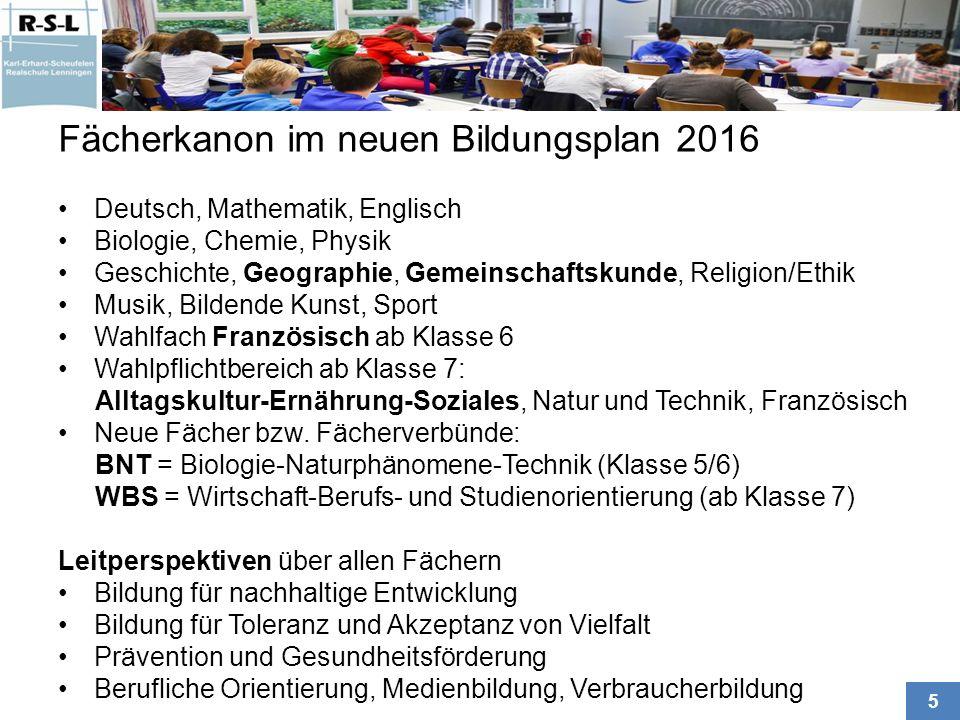 Fächerkanon im neuen Bildungsplan 2016
