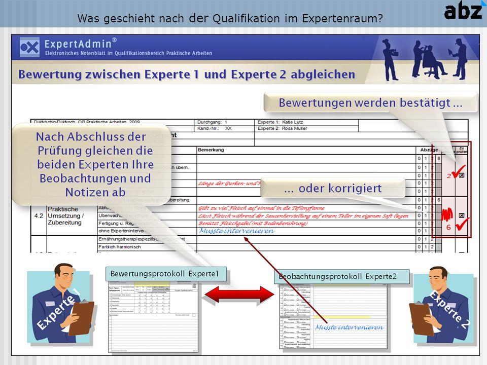 Was geschieht nach der Qualifikation im Expertenraum