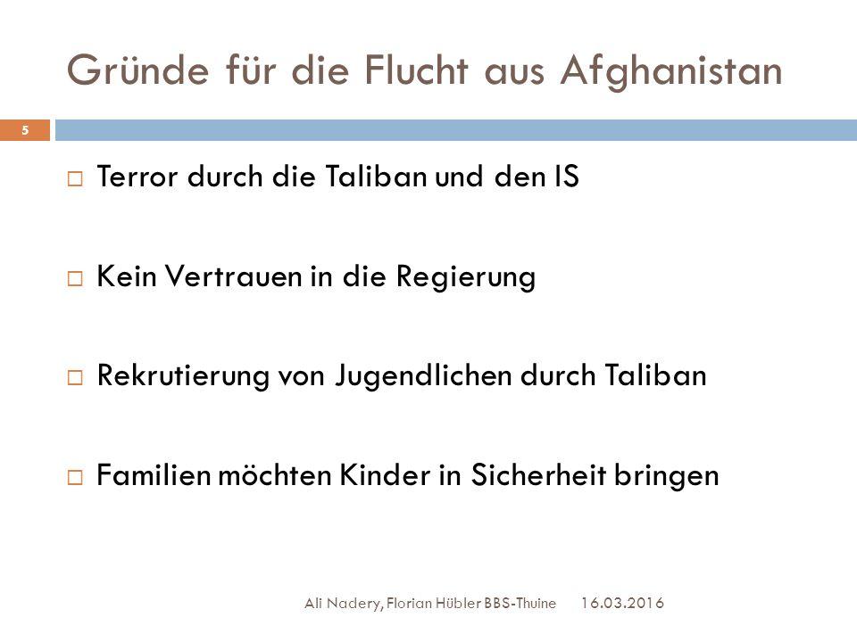 Gründe für die Flucht aus Afghanistan