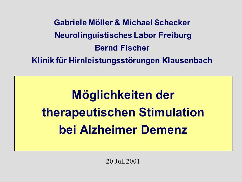 Möglichkeiten der therapeutischen Stimulation bei Alzheimer Demenz