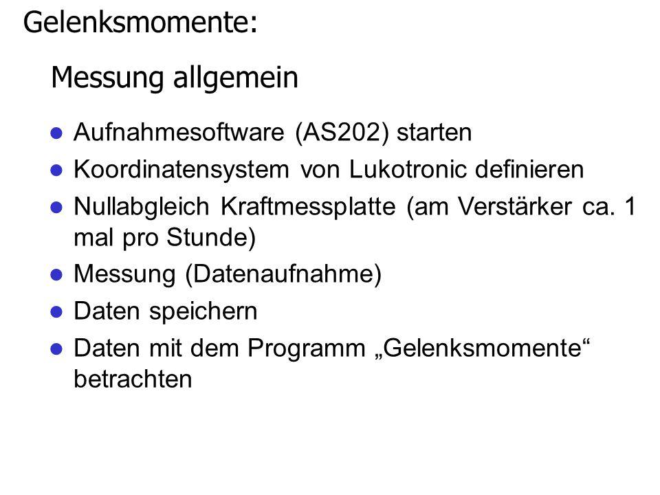Gelenksmomente: Messung allgemein Aufnahmesoftware (AS202) starten