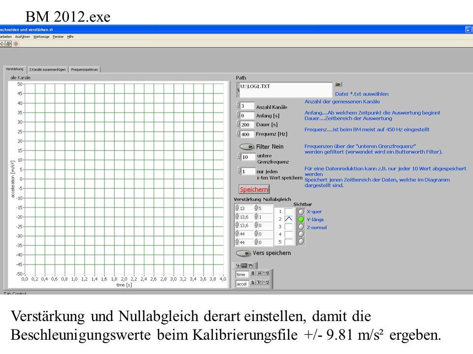 BM 2012.exe Verstärkung und Nullabgleich derart einstellen, damit die.