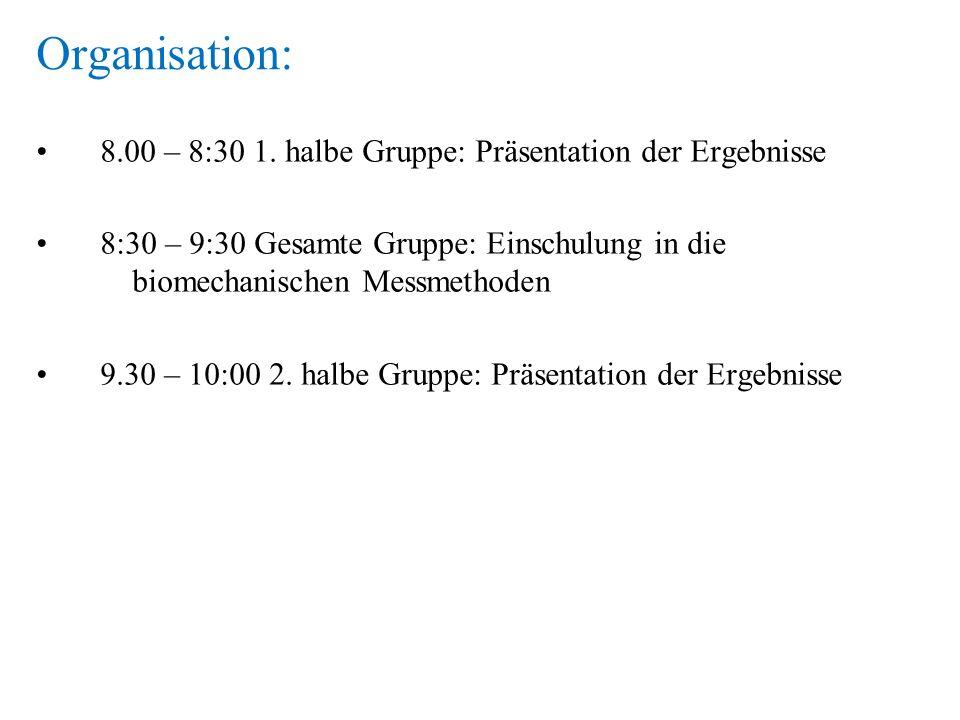Organisation: 8.00 – 8:30 1. halbe Gruppe: Präsentation der Ergebnisse