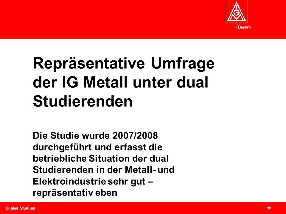 Repräsentative Umfrage der IG Metall unter dual Studierenden