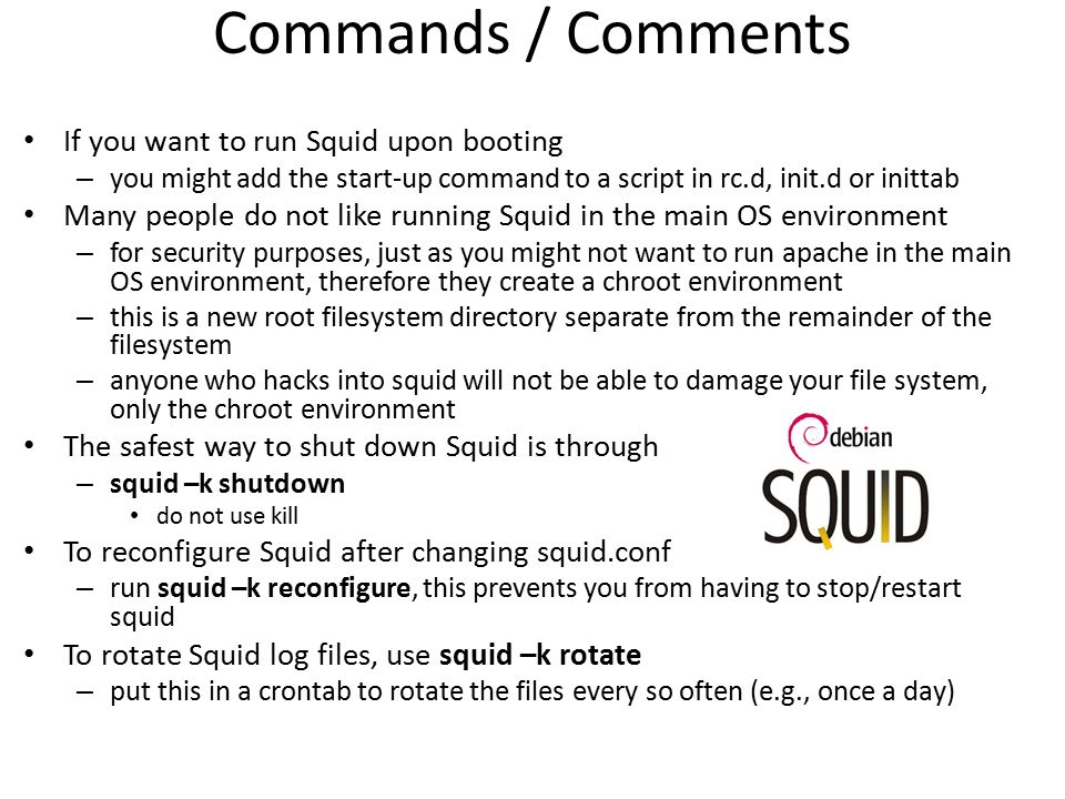 Commands / Comments If you want to run Squid upon booting
