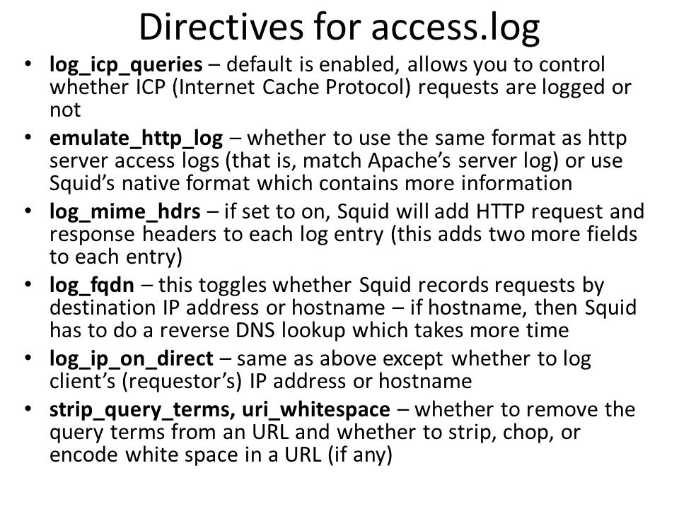 Directives for access.log