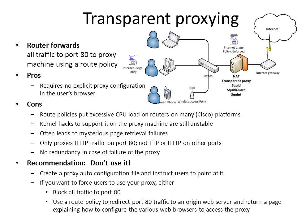 Transparent proxying Router forwards all traffic to port 80 to proxy machine using a route policy.