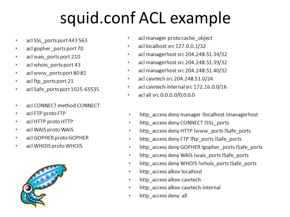 squid.conf ACL example acl manager proto cache_object