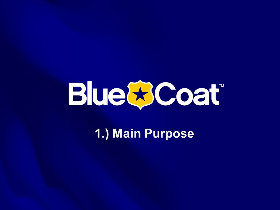 1.) Main Purpose This is the Blue Coat Systems OVERVIEW presentation as of July 2005.