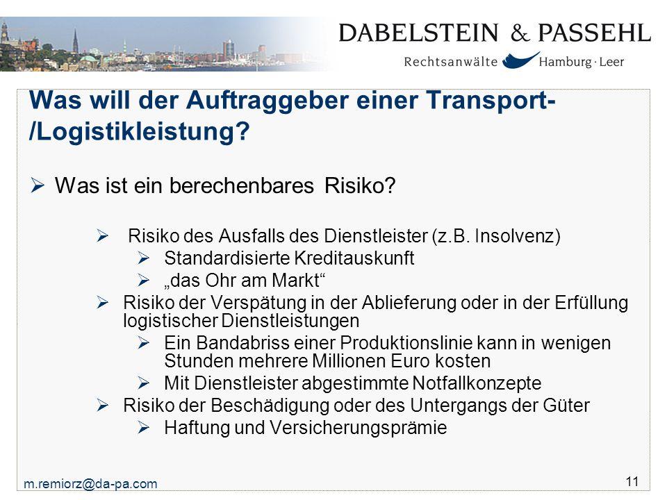 Was will der Auftraggeber einer Transport-/Logistikleistung