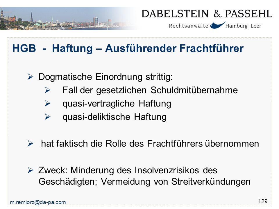 HGB - Haftung – Ausführender Frachtführer