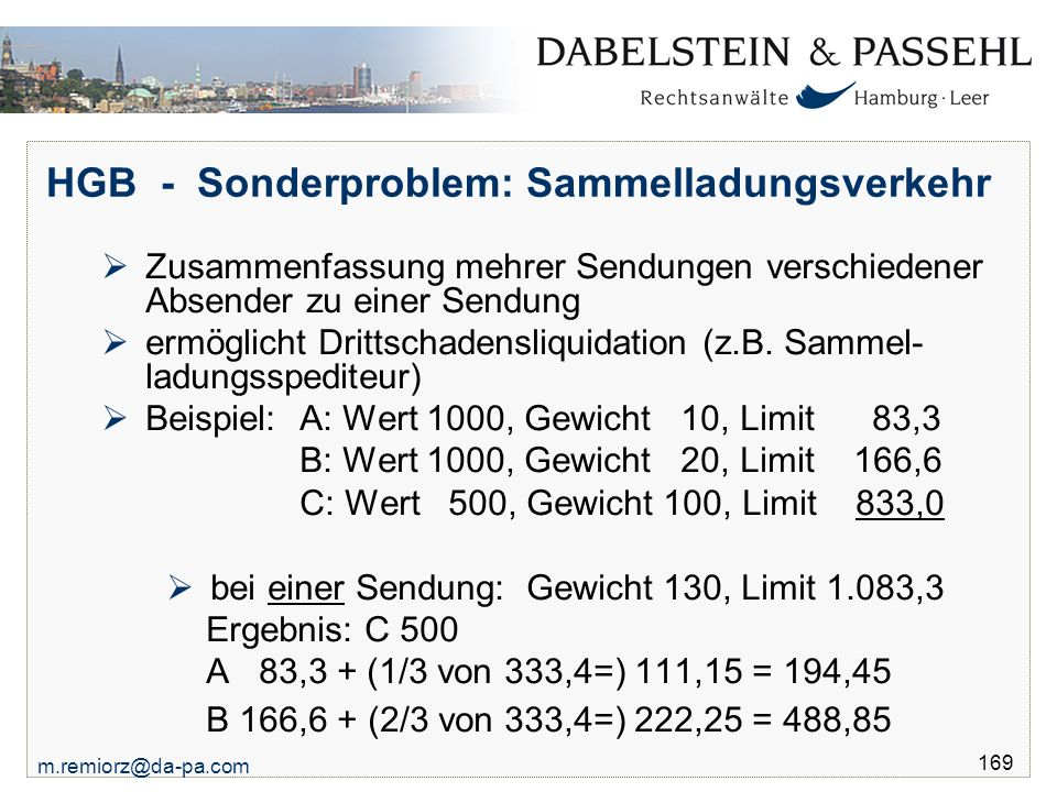 HGB - Sonderproblem: Sammelladungsverkehr