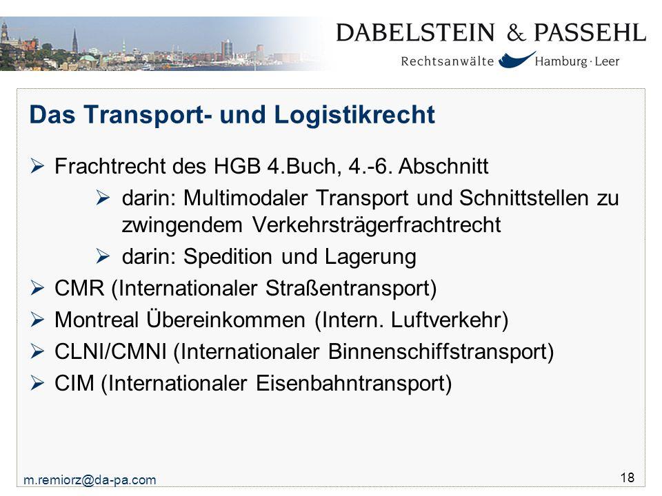 Das Transport- und Logistikrecht
