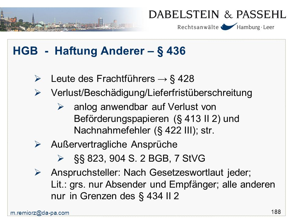HGB - Haftung Anderer – § 436