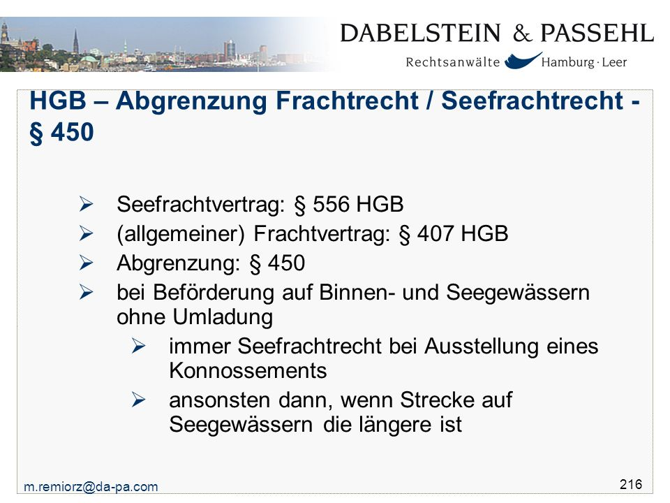 HGB – Abgrenzung Frachtrecht / Seefrachtrecht - § 450