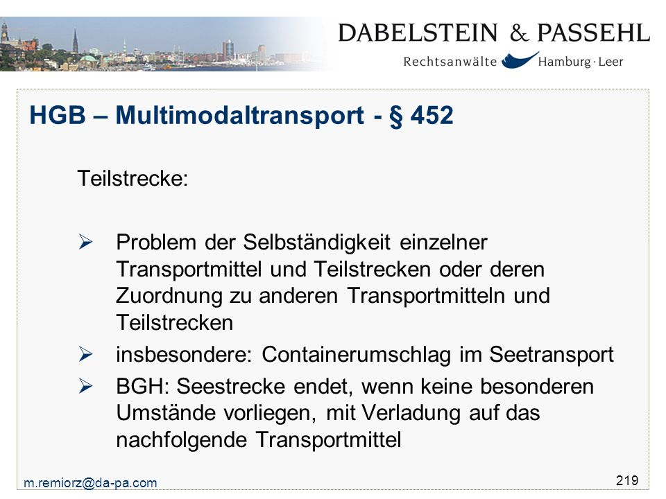 HGB – Multimodaltransport - § 452