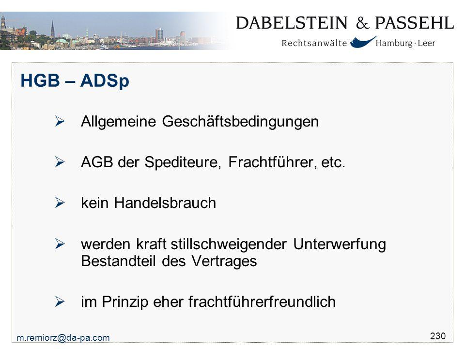 HGB – ADSp Allgemeine Geschäftsbedingungen
