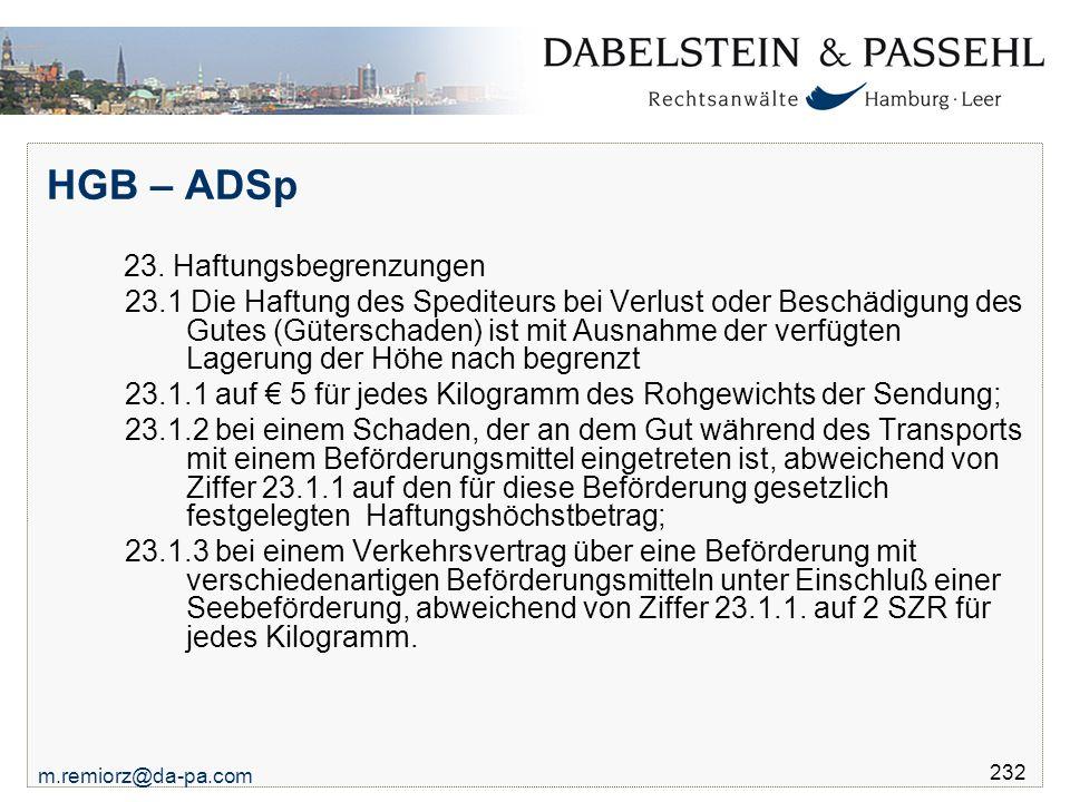 HGB – ADSp 23. Haftungsbegrenzungen